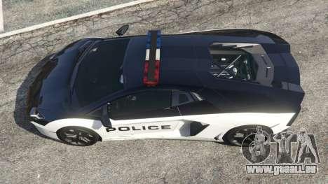 GTA 5 Lamborghini Aventador LP700-4 Police v4.5 Rückansicht