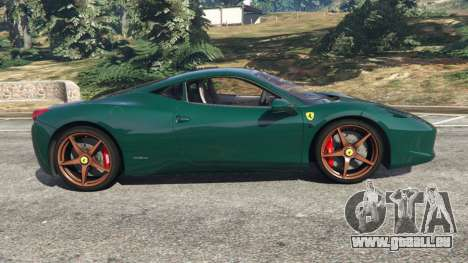 GTA 5 Ferrari 458 Italia 2009 v1.5 linke Seitenansicht