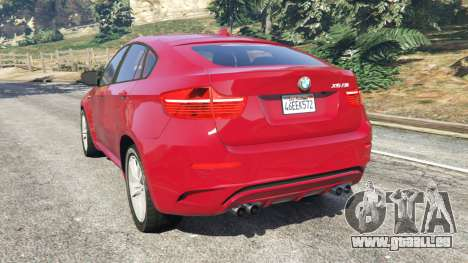 GTA 5 BMW X6 M (E71) arrière vue latérale gauche