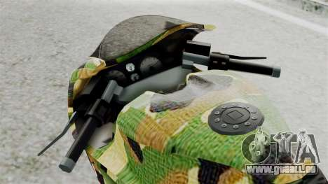 Bati Motorcycle Camo Shark Mouth Edition für GTA San Andreas Rückansicht