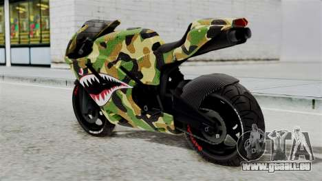 Bati Motorcycle Camo Shark Mouth Edition für GTA San Andreas linke Ansicht