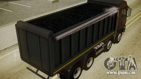 MAN TGS 8x4 Dumper pour GTA San Andreas vue arrière