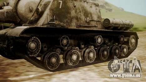 ISU-152 Snow from World of Tanks für GTA San Andreas zurück linke Ansicht