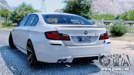 GTA 5 BMW M5 F10 2012 arrière vue latérale gauche