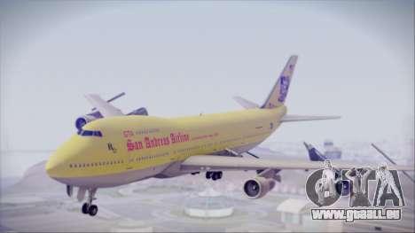Boeing 747-200 GTA SA Airline pour GTA San Andreas sur la vue arrière gauche