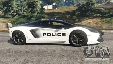 GTA 5 Lamborghini Aventador LP700-4 Police v5.5 linke Seitenansicht