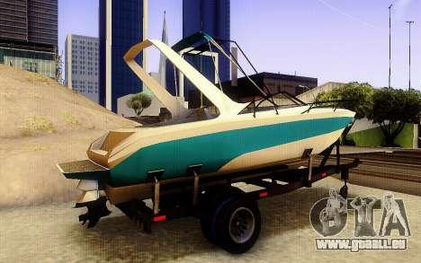 GTA V Boat Trailer pour GTA San Andreas sur la vue arrière gauche