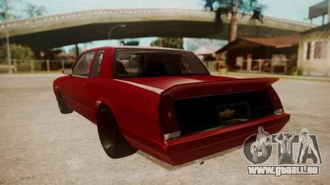 Chevrolet Monte Carlo SS 1986 pour GTA San Andreas laissé vue