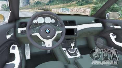 GTA 5 BMW M3 (E46) arrière droit vue de côté