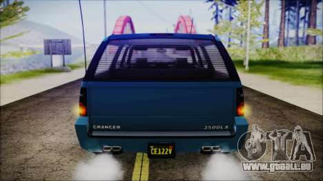 GTA 5 Declasse Granger FIB SUV IVF für GTA San Andreas Rückansicht