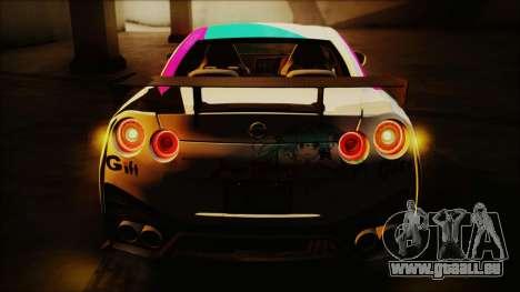 Nissan GT-R Nismo 2015 Itasha Paintjobs für GTA San Andreas zurück linke Ansicht