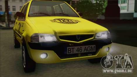 Dacia Solenza Taxi pour GTA San Andreas vue de droite