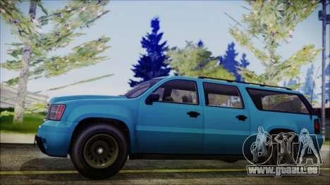 GTA 5 Declasse Granger FIB SUV IVF für GTA San Andreas zurück linke Ansicht