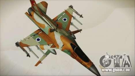 F-16C Block 25 Israeli Air Force pour GTA San Andreas sur la vue arrière gauche
