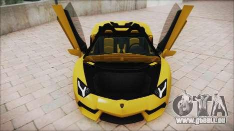 Lamborghini Aventador LP700-4 Roadster 2013 für GTA San Andreas Unteransicht