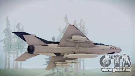 MIG-21MF URSS pour GTA San Andreas sur la vue arrière gauche