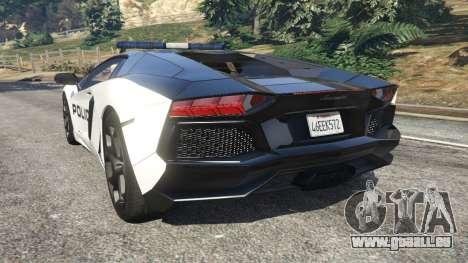 GTA 5 Lamborghini Aventador LP700-4 Police v5.5 hinten links Seitenansicht