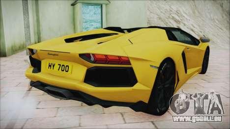 Lamborghini Aventador LP700-4 Roadster 2013 für GTA San Andreas zurück linke Ansicht
