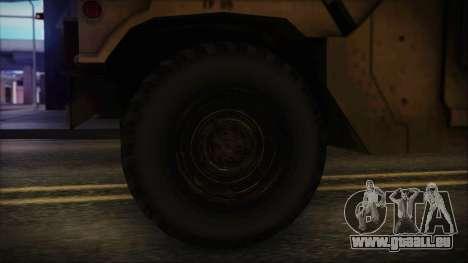 HMMWV Patriot pour GTA San Andreas sur la vue arrière gauche