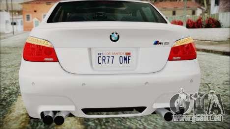 BMW M5 E60 2009 pour GTA San Andreas vue de dessous