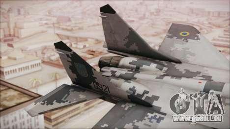 MIG-29 Fulcrum Ukrainian Falcons pour GTA San Andreas sur la vue arrière gauche