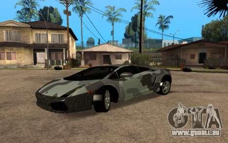 Lamborghini Gallardo Tunable v2 pour GTA San Andreas vue arrière