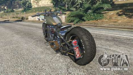 GTA 5 Harley-Davidson Knucklehead Bobber arrière vue latérale gauche