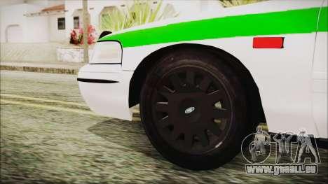 Ford Crown Victoria Miami Dade pour GTA San Andreas sur la vue arrière gauche