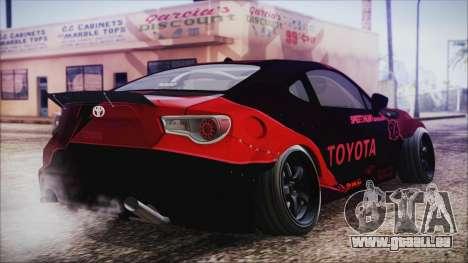 Toyota GT86 Speedhunters pour GTA San Andreas laissé vue