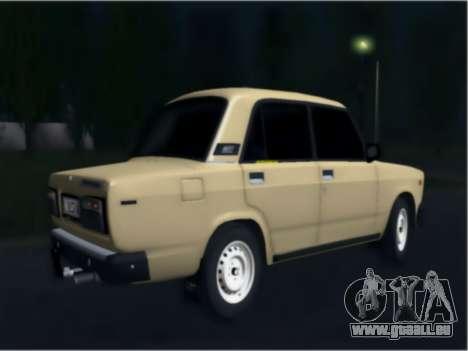Ваз 21074 Beige Beauté pour GTA San Andreas sur la vue arrière gauche