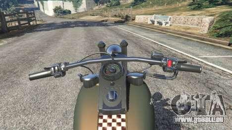GTA 5 Harley-Davidson Knucklehead Bobber arrière droit vue de côté