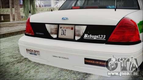Ford Crown Victoria Miami Dade für GTA San Andreas Rückansicht