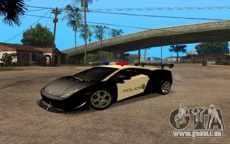 Lamborghini Gallardo Tunable v2 pour GTA San Andreas sur la vue arrière gauche