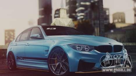BMW M3 F30 IND EDITION pour GTA San Andreas sur la vue arrière gauche