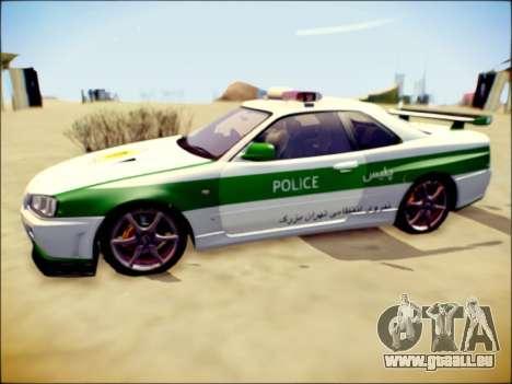 Nissan Skyline Iranian Police pour GTA San Andreas sur la vue arrière gauche