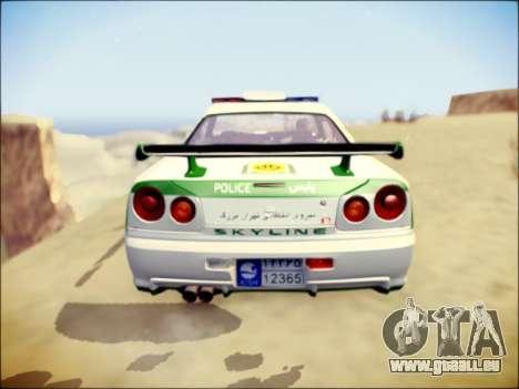 Nissan Skyline Iranian Police für GTA San Andreas Rückansicht