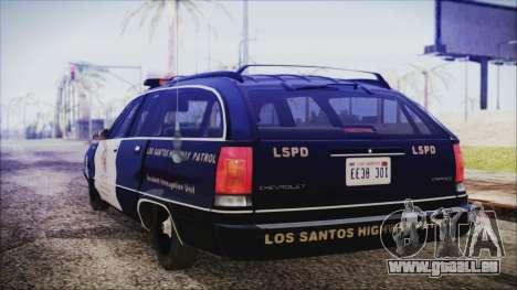 Chevrolet Caprice Station Wagon 1993-1996 LSPD pour GTA San Andreas laissé vue