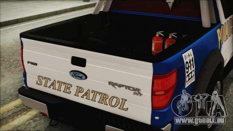 Ford F-150 SVT Raptor 2012 Police Version pour GTA San Andreas vue arrière