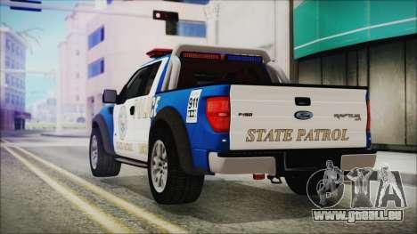 Ford F-150 SVT Raptor 2012 Police Version pour GTA San Andreas laissé vue