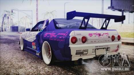 Nissan Skyline R32 Nozomi Toujo Itasha pour GTA San Andreas laissé vue