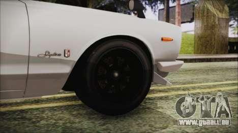 Nissan Skyline GT-R Hakosuka für GTA San Andreas zurück linke Ansicht