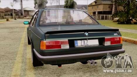 BMW M635 E24 CSi 1984 Stock pour GTA San Andreas laissé vue