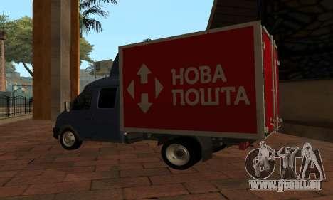 GAZelle 33023 Nova Poshta für GTA San Andreas zurück linke Ansicht