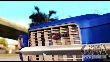 Chevrolet Camaro Z28 1970 Tunable pour GTA San Andreas sur la vue arrière gauche