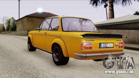 BMW 2002 Turbo 1973 Stock für GTA San Andreas zurück linke Ansicht