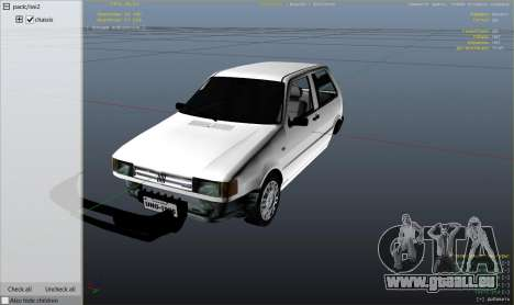 GTA 5 Fiat Uno 1995 droite vue latérale