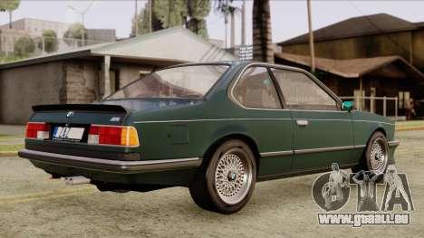 BMW M635 E24 CSi 1984 Stock pour GTA San Andreas sur la vue arrière gauche