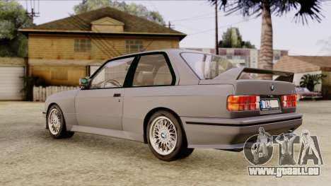 BMW M3 E30 1991 Stock für GTA San Andreas zurück linke Ansicht
