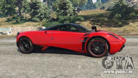 GTA 5 Pagani Huayra 2013 v1.1 [black and red rims] vue latérale gauche