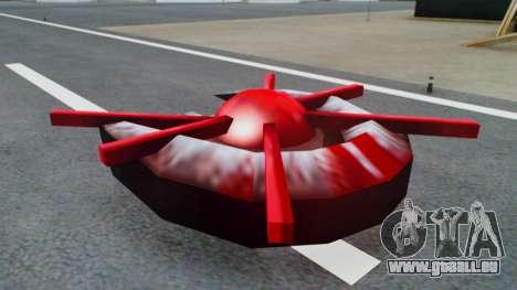 Alien Ship Red-Gray für GTA San Andreas zurück linke Ansicht